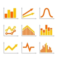 Color Graph Chart Icons Set on White Background vector image vector image
