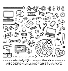 E-commerce sketch icons vector image