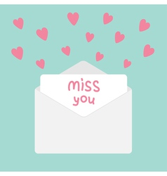 Envelope with hearts miss you card vector
