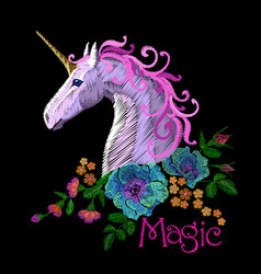fantasy unicorn embroidery patch sticker pink vector image vector image