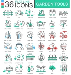 Garden tools modern color flat line outline vector