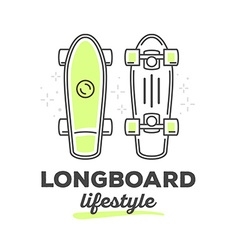 Longboard with text on white background vector