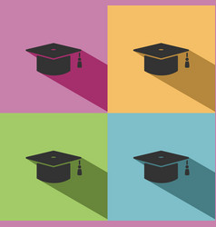 Mortarboard icon with shade on colored background vector