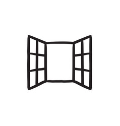 Open windows sketch icon vector