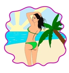Pretty girl at beach vector image