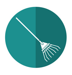 Rake tool gardening shadow vector