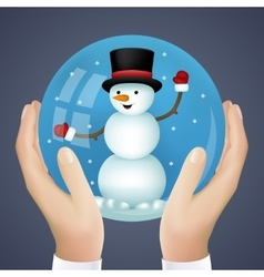 Realistic hand holding cristmas winter new year vector