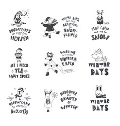 Set of cute animals and winter quotes nursery art vector