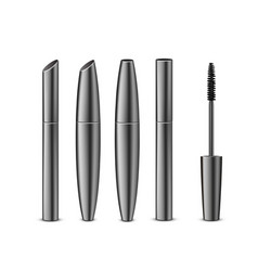 Set of different black mascara with brush vector