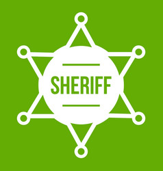 sheriff badge icon green vector image vector image
