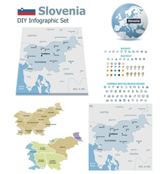 Slovenia maps with markers vector image