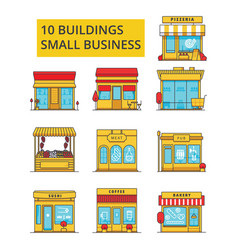 small business buildings thin line vector image