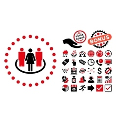 Society Flat Icon with Bonus vector image