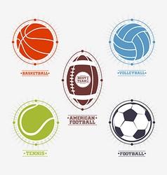 Sports balls logos emblem vector image vector image