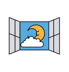 Windows bedroom with cute moon vector