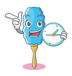 With clock feather duster character cartoon vector