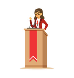 Young politician woman standing behind rostrum and vector