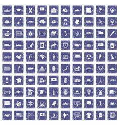 100 geography icons set grunge sapphire vector