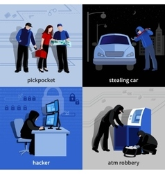 Burglar 2x2 icons set vector