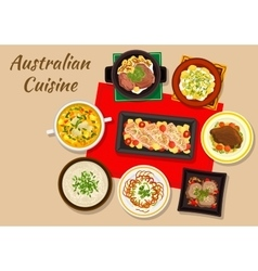 Australian cuisine dishes for festive dinner icon vector