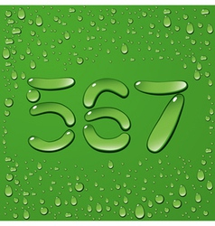 Water drop letters on green background 11 vector