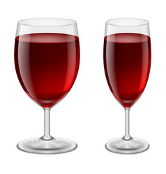 Two glasses of red wine for creative design vector