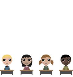 cartoon children in school board vector image