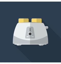 Flat toaster with long shadow icon vector