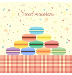 Macarons on the table vector