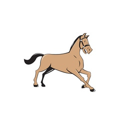 Horse kneeling down cartoon vector
