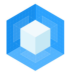 3d cube projections on blueprint isometric vector image