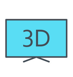 3d television line icon tv video symbol vector image