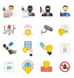 Bank security flat icons set vector