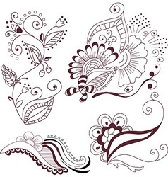 Collection abstract floral elements vector
