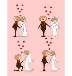 Groom and bride with flying hearts vector