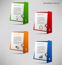 Info graphic with colored folded paper pointers vector
