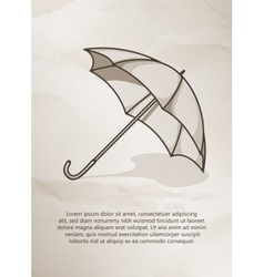 Vintage postcard retro umbrella on grunge vector