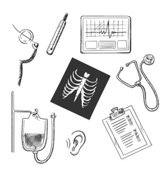 Diagnostics and medical test object sketches vector