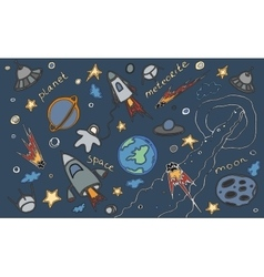 Doodle set of cosmos vector image