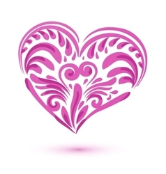 Pink brushstroke heart isolated on white vector image