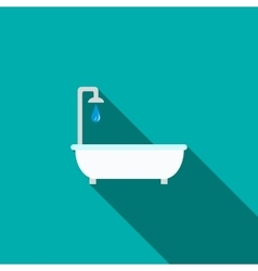 Bathtub with shower icon flat style vector