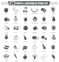 Fruits and vegetables black icon set dark vector