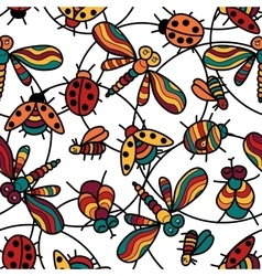 Pattern with funny ladybugs dragonflies insects vector