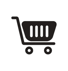 Flat icon in black and white trolley vector image