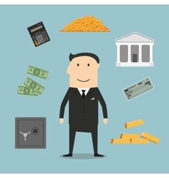 Banker profession and financial icons vector image vector image