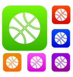 basketball ball set collection vector image vector image