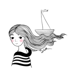 Beautiful young girl sailor with the ship in her vector