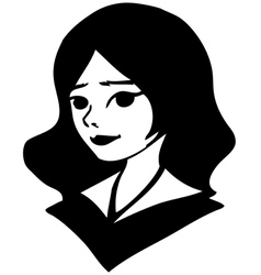 black-and-white portrait of a pretty girl drawing vector image vector image