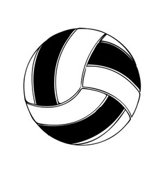 Black silhouette volleyball ball element sport vector