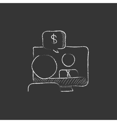 Business video negotiations drawn in chalk icon vector